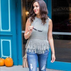 Vici fringe sleeveless black sweater small